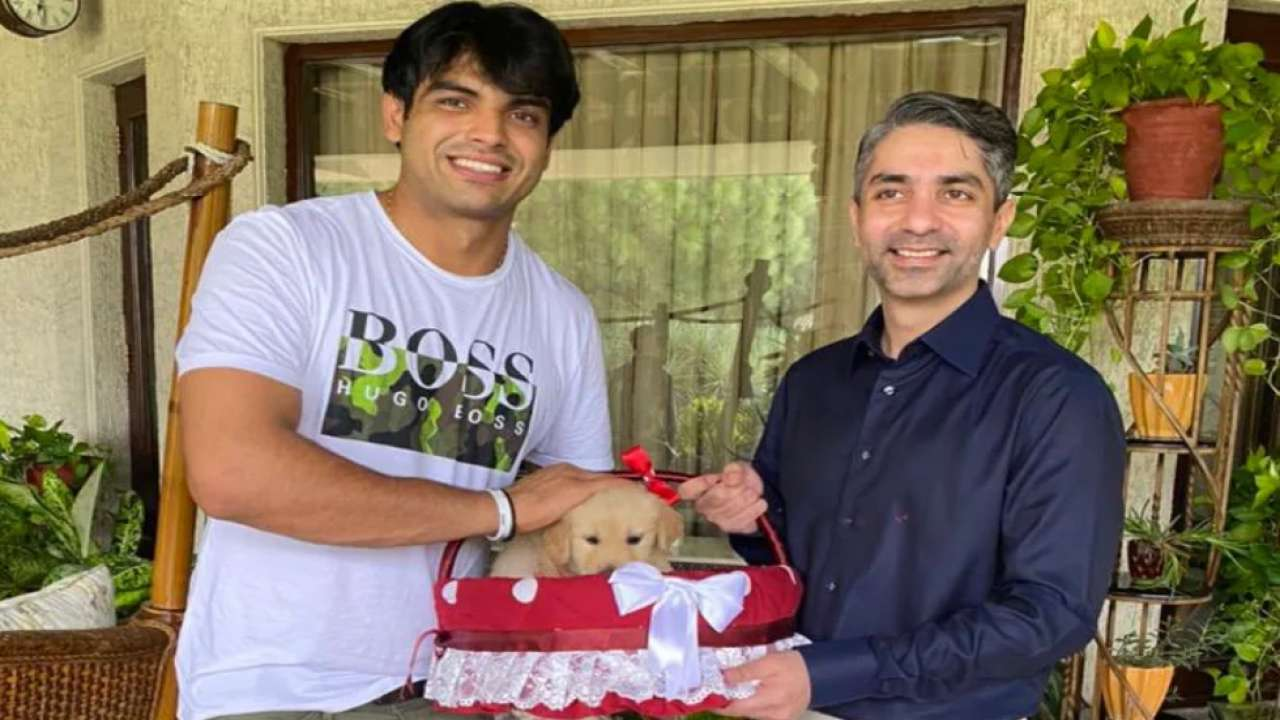 Neeraj Chopra gets a puppy named Tokyo as a gift from Beijing Olympics gold medalist