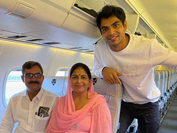Neeraj Chopra Dream Fulfilled - The Golden Boy Taking To His Parents On First Flight on their First Flight Ever