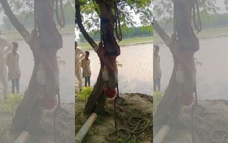 A farmer was brutally thrashed, later found hanged upside down on the tree