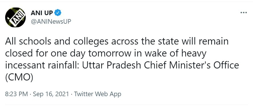 BREAKING NEWS: All Schools and Colleges to remain close due to heavy Rainfall, says Uttar Pradesh Government