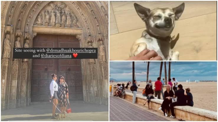 Priyanka Chopra enjoying time off with her Mom and her dog in Spain