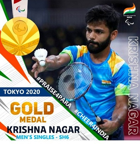 KrishnaNagarClinches Gold Medal In Badminton, India's Medal Count Reaches 19