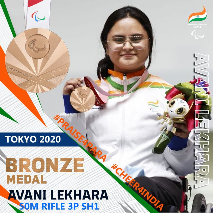 Shooter Avani Lekhara Creates History, Wins Bronze  To become First Indian To Get Two medals In A Paralympics
