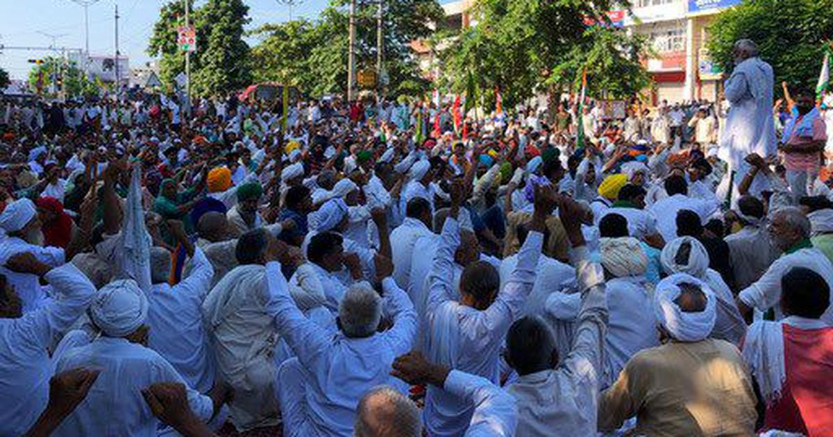 Farmers continue to demonstrate outside the mini secretariat in Karnal